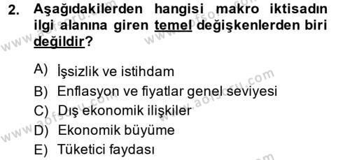 Kamu Yönetimi Bölümü 2. Yarıyıl İktisada Giriş II Dersi 2014 Yılı Bahar Dönemi Tek Ders Sınavı 2. Soru