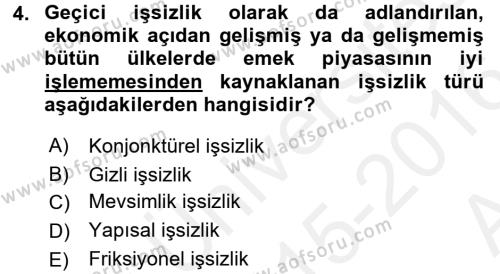 Turizm ve Seyahat Hizmetleri Bölümü 2. Yarıyıl İktisada Giriş II Dersi 2016 Yılı Bahar Dönemi Ara Sınavı 4. Soru
