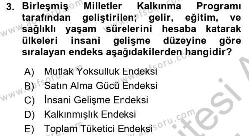 İktisada Giriş 2 Dersi 2016 - 2017 Yılı (Vize) Ara Sınav Soruları 3. Soru
