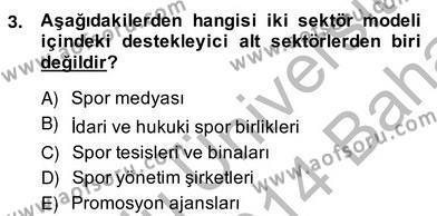 Spor Yönetimi Bölümü 2. Yarıyıl Spor Ekonomisi Dersi 2014 Yılı Bahar Dönemi Ara Sınavı 3. Soru