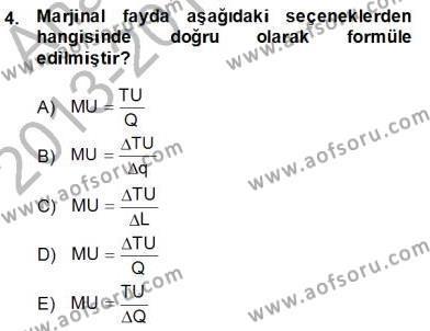 Spor Yönetimi Bölümü 2. Yarıyıl Spor Ekonomisi Dersi 2014 Yılı Bahar Dönemi Dönem Sonu Sınavı 4. Soru
