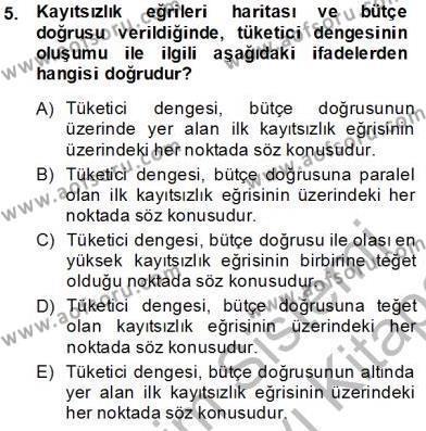 Spor Yönetimi Bölümü 2. Yarıyıl Spor Ekonomisi Dersi 2014 Yılı Bahar Dönemi Dönem Sonu Sınavı 5. Soru