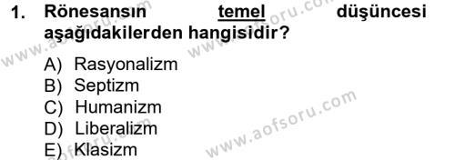 İktisadi Düşünceler Tarihi Dersi 2012 - 2013 Yılı Ara Sınavı 1. Soru