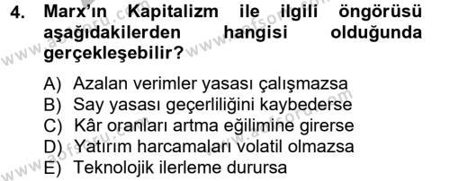 İktisat Bölümü 3. Yarıyıl İktisadi Düşünceler Tarihi Dersi 2013 Yılı Güz Dönemi Ara Sınavı 4. Soru