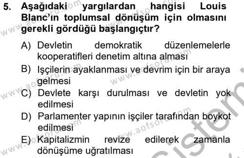 İktisat Bölümü 3. Yarıyıl İktisadi Düşünceler Tarihi Dersi 2013 Yılı Güz Dönemi Ara Sınavı 5. Soru