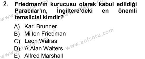 İktisadi Düşünceler Tarihi Dersi 2012 - 2013 Yılı Dönem Sonu Sınavı 2. Soru