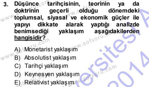 İktisat Bölümü 3. Yarıyıl İktisadi Düşünceler Tarihi Dersi 2014 Yılı Güz Dönemi Ara Sınavı 3. Soru