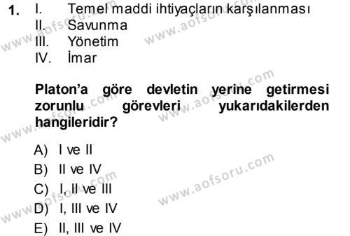 İktisadi Düşünceler Tarihi Dersi 2013 - 2014 Yılı Dönem Sonu Sınavı 1. Soru