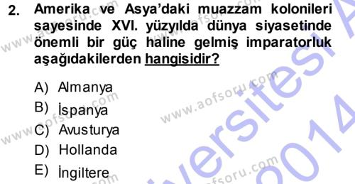 İktisadi Düşünceler Tarihi Dersi 2013 - 2014 Yılı Dönem Sonu Sınavı 2. Soru