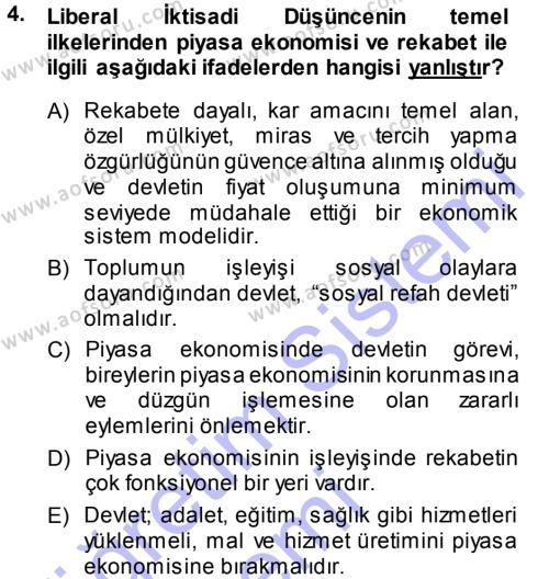 İktisadi Düşünceler Tarihi Dersi 2013 - 2014 Yılı Dönem Sonu Sınavı 4. Soru