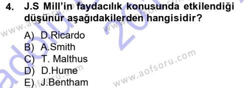 İktisat Bölümü 3. Yarıyıl İktisadi Düşünceler Tarihi Dersi 2015 Yılı Güz Dönemi Ara Sınavı 4. Soru