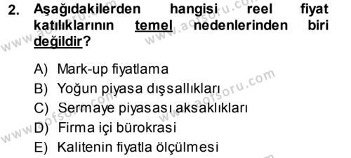 İktisadi Düşünceler Tarihi Dersi 2014 - 2015 Yılı Dönem Sonu Sınavı 2. Soru