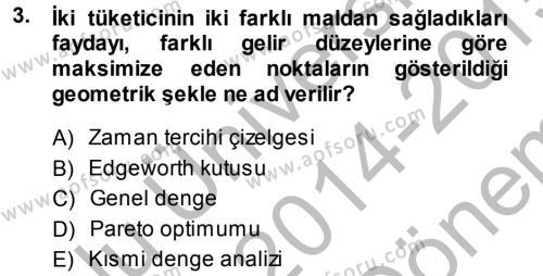 İktisadi Düşünceler Tarihi Dersi 2014 - 2015 Yılı Dönem Sonu Sınavı 3. Soru