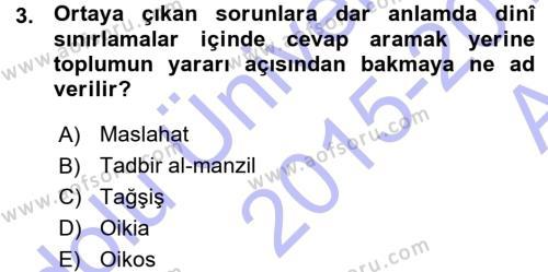 İktisadi Düşünceler Tarihi Dersi 2015 - 2016 Yılı (Vize) Ara Sınav Soruları 3. Soru