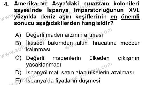 İktisadi Düşünceler Tarihi Dersi 2015 - 2016 Yılı (Vize) Ara Sınav Soruları 4. Soru