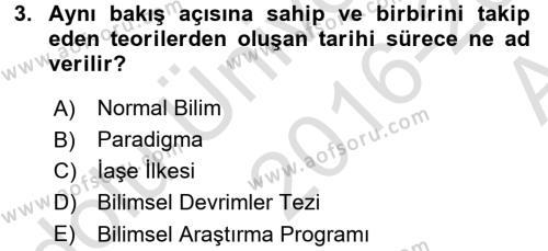 İktisadi Düşünceler Tarihi Dersi 2016 - 2017 Yılı (Vize) Ara Sınav Soruları 3. Soru