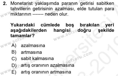 İktisadi Düşünceler Tarihi Dersi 2018 - 2019 Yılı (Final) Dönem Sonu Sınav Soruları 2. Soru