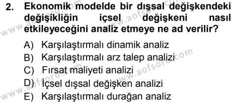 İşletme Bölümü 3. Yarıyıl Mikro İktisat Dersi 2013 Yılı Güz Dönemi Ara Sınavı 2. Soru