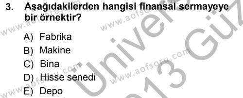 İşletme Bölümü 3. Yarıyıl Mikro İktisat Dersi 2013 Yılı Güz Dönemi Ara Sınavı 3. Soru