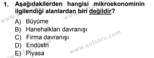 Maliye Bölümü 3. Yarıyıl Mikro İktisat Dersi 2013 Yılı Güz Dönemi Dönem Sonu Sınavı 1. Soru