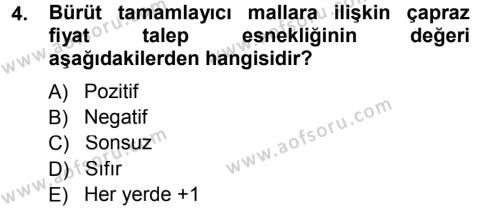 Maliye Bölümü 3. Yarıyıl Mikro İktisat Dersi 2013 Yılı Güz Dönemi Dönem Sonu Sınavı 4. Soru