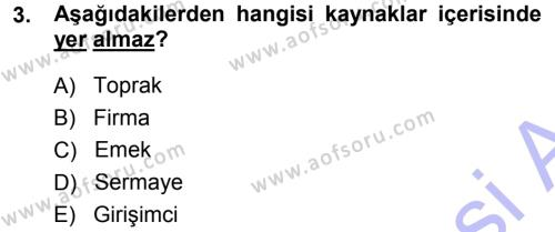 İşletme Bölümü 3. Yarıyıl Mikro İktisat Dersi 2014 Yılı Güz Dönemi Ara Sınavı 3. Soru