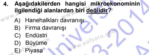 Mikro İktisat Dersi 2013 - 2014 Yılı Ara Sınavı 4. Soru