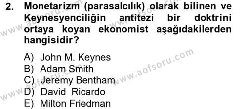 İşletme Bölümü 4. Yarıyıl Makro İktisat Dersi 2014 Yılı Bahar Dönemi Ara Sınavı 2. Soru