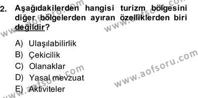 Turizm Ekonomisi Dersi 2013 - 2014 Yılı Ara Sınavı 2. Soru