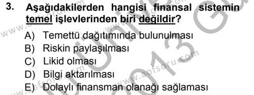 Para ve Banka Dersi 2012 - 2013 Yılı Ara Sınavı 3. Soru