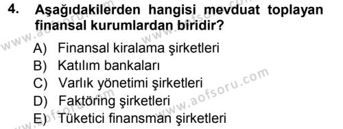 Para ve Banka Dersi 2012 - 2013 Yılı Ara Sınavı 4. Soru