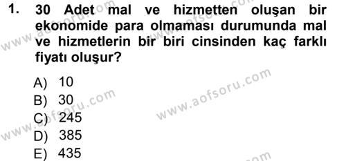 Para ve Banka Dersi 2012 - 2013 Yılı Dönem Sonu Sınavı 1. Soru