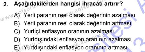 Para ve Banka Dersi 2012 - 2013 Yılı Dönem Sonu Sınavı 2. Soru