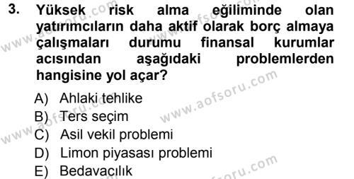 Para ve Banka Dersi 2012 - 2013 Yılı Dönem Sonu Sınavı 3. Soru
