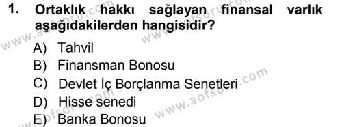 Para ve Banka Dersi 2013 - 2014 Yılı Ara Sınavı 1. Soru