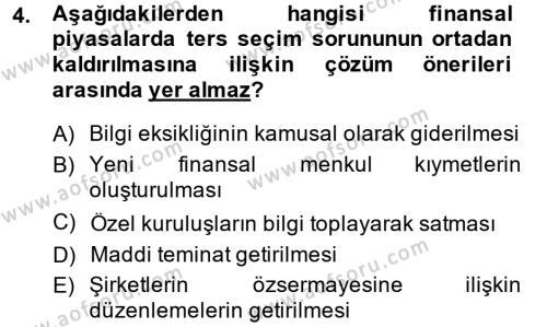 Para ve Banka Dersi 2013 - 2014 Yılı Dönem Sonu Sınavı 4. Soru