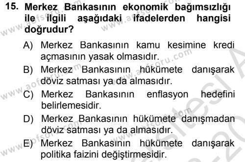 Para ve Banka Dersi Tek Ders Sınavı Deneme Sınav Soruları 15. Soru