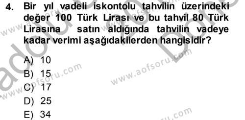 Para ve Banka Dersi 2014 - 2015 Yılı (Final) Dönem Sonu Sınav Soruları 4. Soru