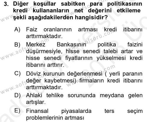 Para ve Banka Dersi 2017 - 2018 Yılı 3 Ders Sınav Soruları 3. Soru