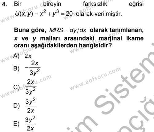 Matematiksel İktisat Dersi 2012 - 2013 Yılı (Vize) Ara Sınav Soruları 4. Soru