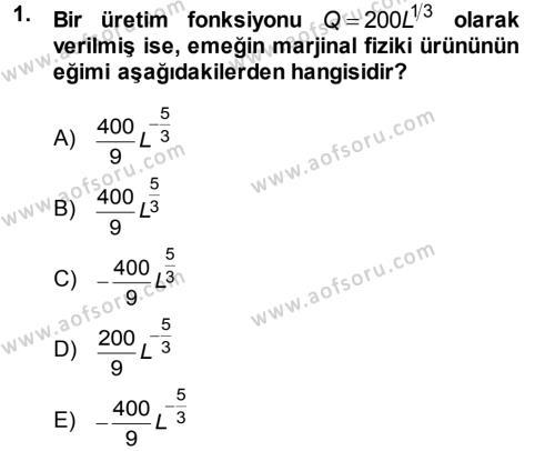 İktisat Bölümü 5. Yarıyıl Matematiksel İktisat Dersi 2014 Yılı Güz Dönemi Tek Ders Sınavı 1. Soru