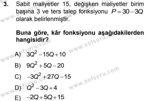 İktisat Bölümü 5. Yarıyıl Matematiksel İktisat Dersi 2014 Yılı Güz Dönemi Tek Ders Sınavı 3. Soru
