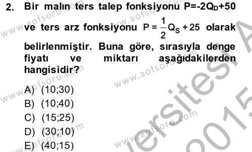 Matematiksel İktisat Dersi 2014 - 2015 Yılı (Final) Dönem Sonu Sınav Soruları 2. Soru