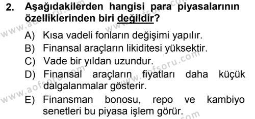 Para Teorisi Dersi 2012 - 2013 Yılı (Vize) Ara Sınav Soruları 2. Soru