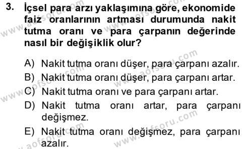 Para Politikası Dersi 2013 - 2014 Yılı (Final) Dönem Sonu Sınav Soruları 3. Soru