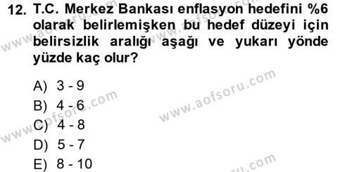 Para Politikası Dersi Tek Ders Sınavı Deneme Sınav Soruları 12. Soru