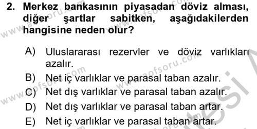 Para Politikası Dersi 2016 - 2017 Yılı (Vize) Ara Sınav Soruları 2. Soru
