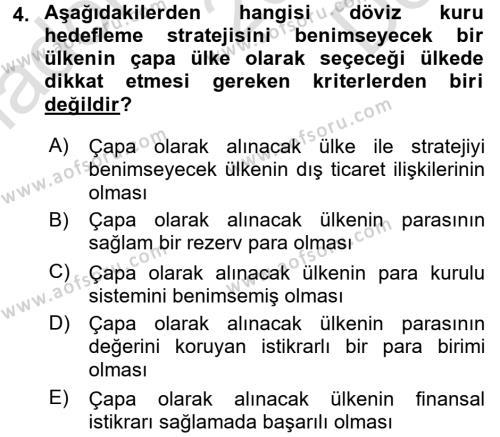 Para Politikası Dersi 2016 - 2017 Yılı (Final) Dönem Sonu Sınav Soruları 4. Soru