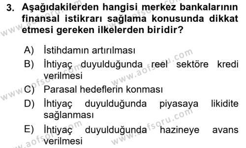 Para Politikası Dersi 2018 - 2019 Yılı (Final) Dönem Sonu Sınav Soruları 3. Soru