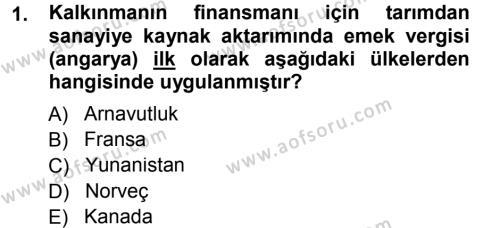 Tarım Ekonomisi ve Tarımsal Politikalar Dersi 2012 - 2013 Yılı (Final) Dönem Sonu Sınav Soruları 1. Soru